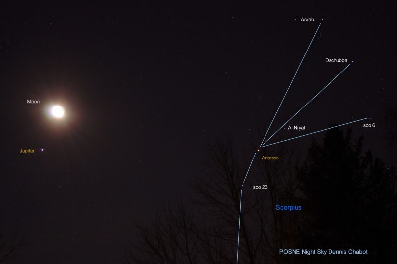 Waning moon near bright Jupiter, with outline of the top of constellation Scorpius annotated.
