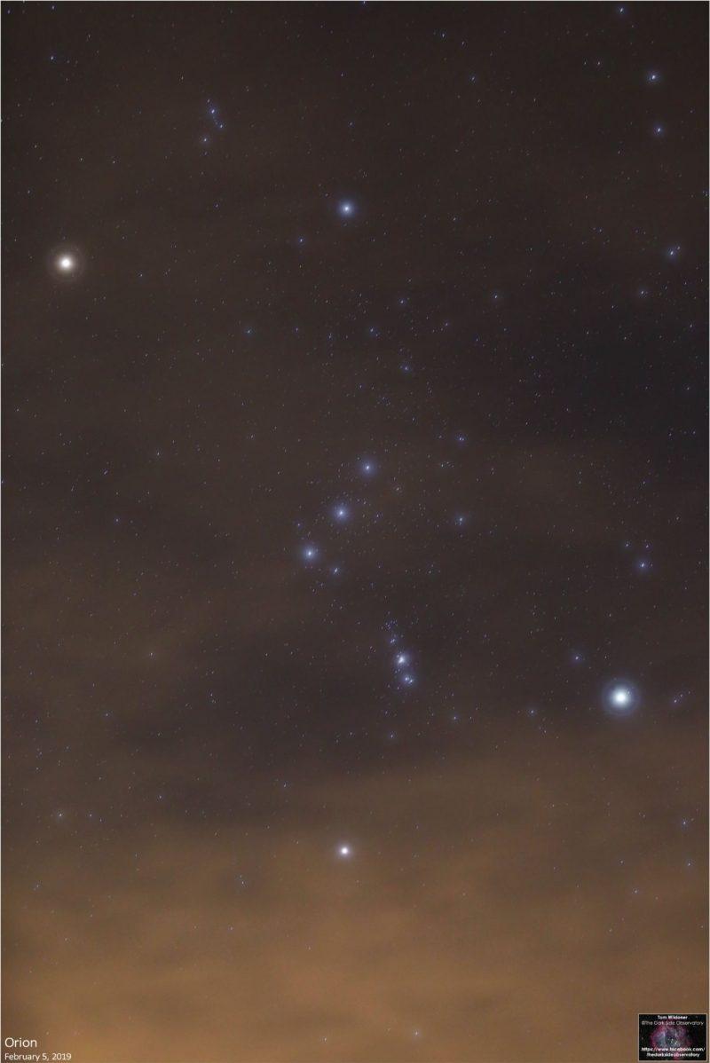 Orion constellation in dark blue sky