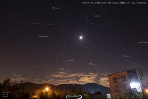 Moon and planets are annotated; constellation patterns are drawn.