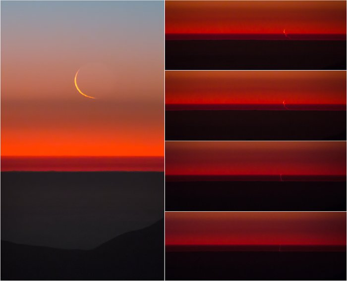 Several photos showing crescent moon against orange sunset lower in each one.
