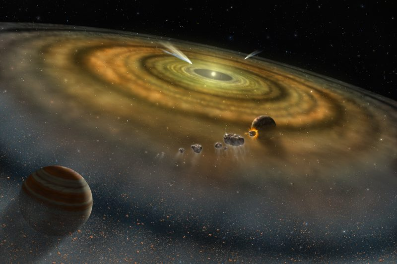 Flat disk of dust with two planets and a few asteroids.