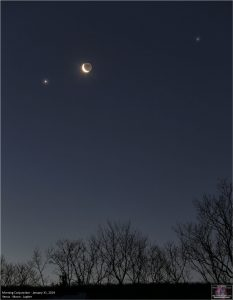 Crescent moon between 2 bright planets, above treetops.