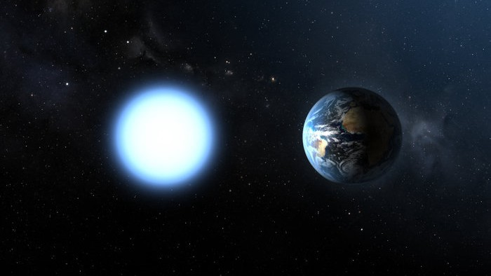 A white dwarf star and Earth, side by side. They're about the same size.