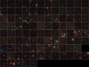 grid placed across a portion of the sky with very many multicolored dots and tiny smudges.