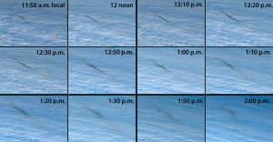 Panels showing the bolide at different times.