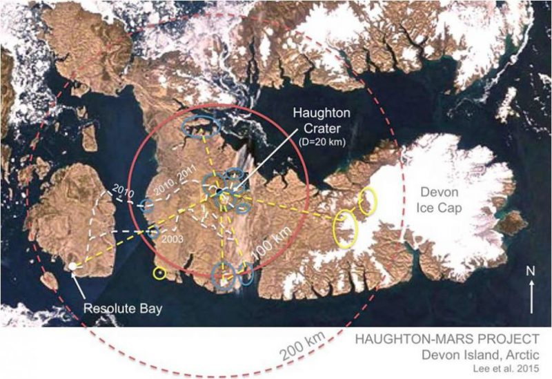 Brown Devon Island and Haughton Crater with circles indicating 100 and 200 kilometers from base.