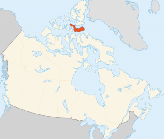 Map showing uppermost U.S., Canada and the location of Devon Island in the Canadian Arctic.