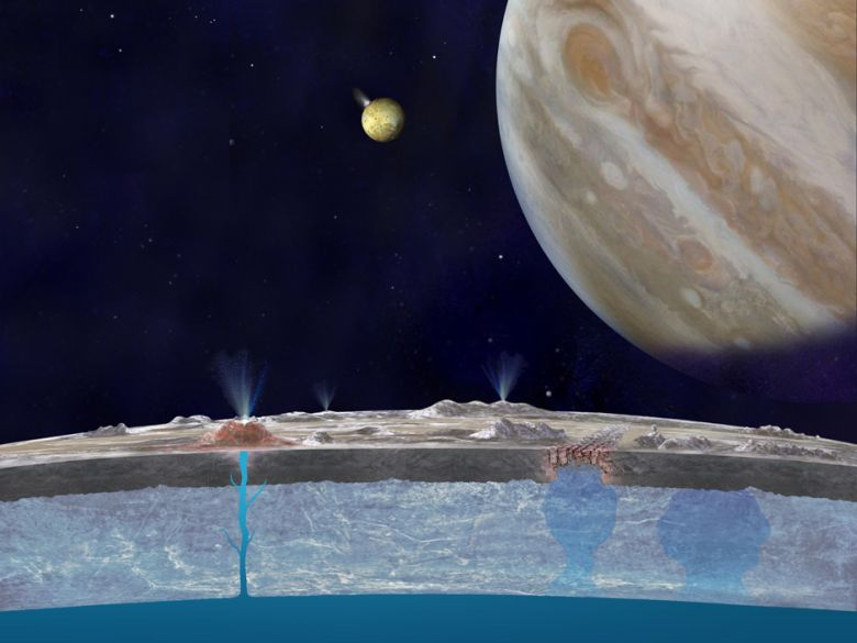 Cutaway view of Europa showing subsurface water layer with vents to surface. Planet Jupiter in sky.