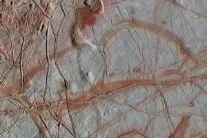 Europa's cracked surface close-up.