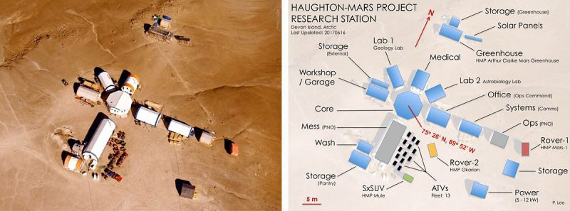 Haughton-Mars Project Research Station, longish buildings radiating from larger center building.