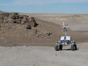 Rover in Haughton Crater.