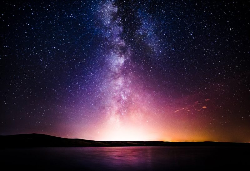 Milky Way galaxy seen from earth over the horizon.