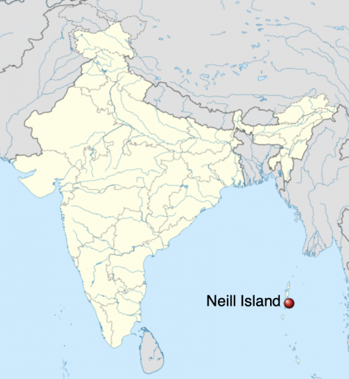 Map showing Neill Island, east of India, in the Indian Ocean.