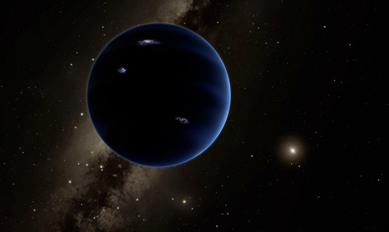Work by artist showing dark crescent planet, far from tiny sun, against background of Milky Way.