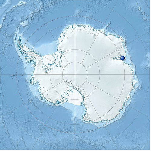 Map of Antarctic with a dot showing the location of the ice shelf.