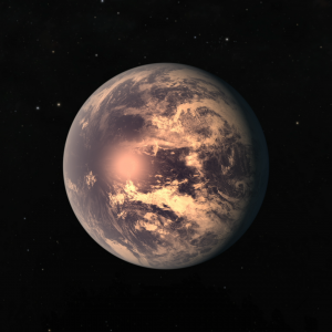 Exoplanet TRAPPIST-1 e with clouds and oceans.