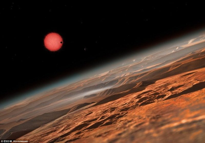 In the foreground, a curve of a rocky planet, with atmosphere above. In the background, a red star.