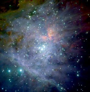 Bright stars in the Trapezium cluster.