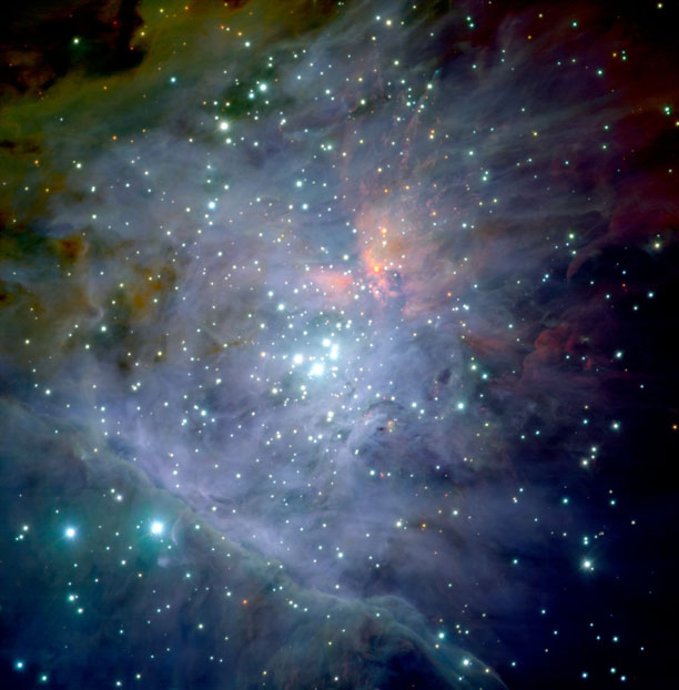 Mostly blue gas cloud in space with numerous stars.