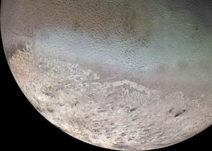 Triton as seen by Voyager 2.