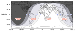 Worldwide map of July 16, 2019 partial lunar eclipse.