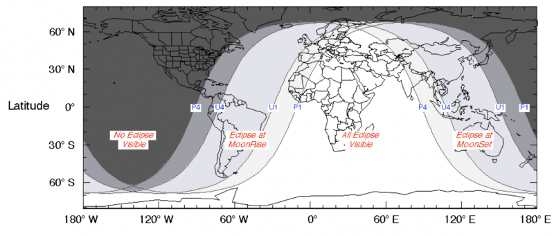 Worldwide map of coverage of July 16, 2019, partial lunar eclipse.