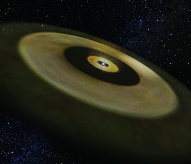 Flat, wide tan dust rings, image very similar to the ALMA image but oblique.