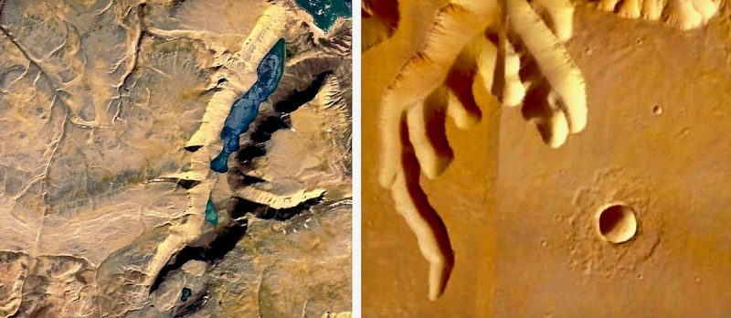 Aerial view of almost identical canyons on Devon Island and Mars.