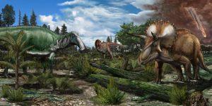 Dinosaurs on a floodplain 66 million years ago.
