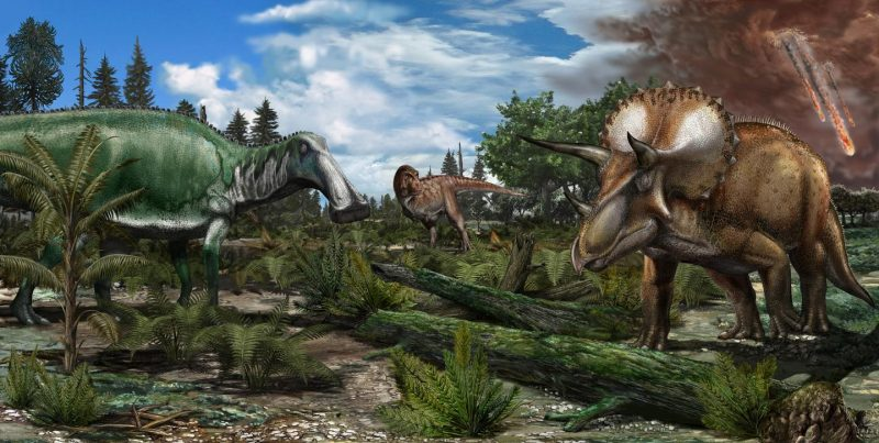 Duck=billed dinosaur and triceratops on a floodplain, asteroid streaking downward in background.