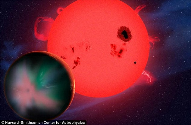 Planet orbiting large detailed red star with spots and flares.