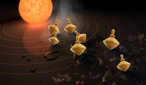 A fanciful artist's concept, showing a star like our sun with wooden tops, tilting at different angles, orbiting it.