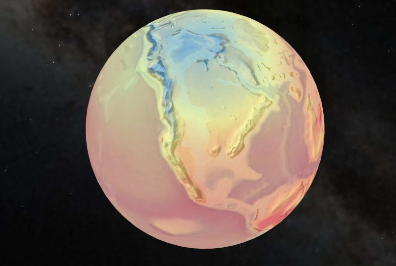 Colored temperature map of Earth in Late Cretaceous period.