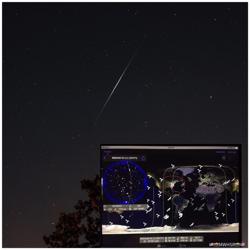 Bright streak of iridium flare in dark starry sky, plus inset showing orbital paths over Earth and sky maps.