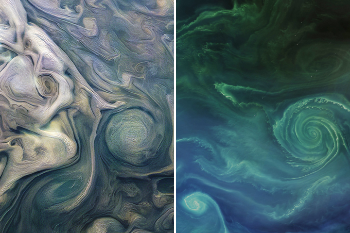 Two orbital photos from one to the other, almost identical round vortices.