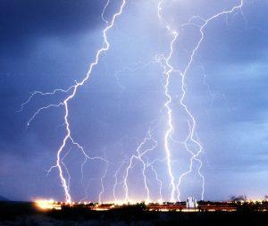 Lightning strikes.