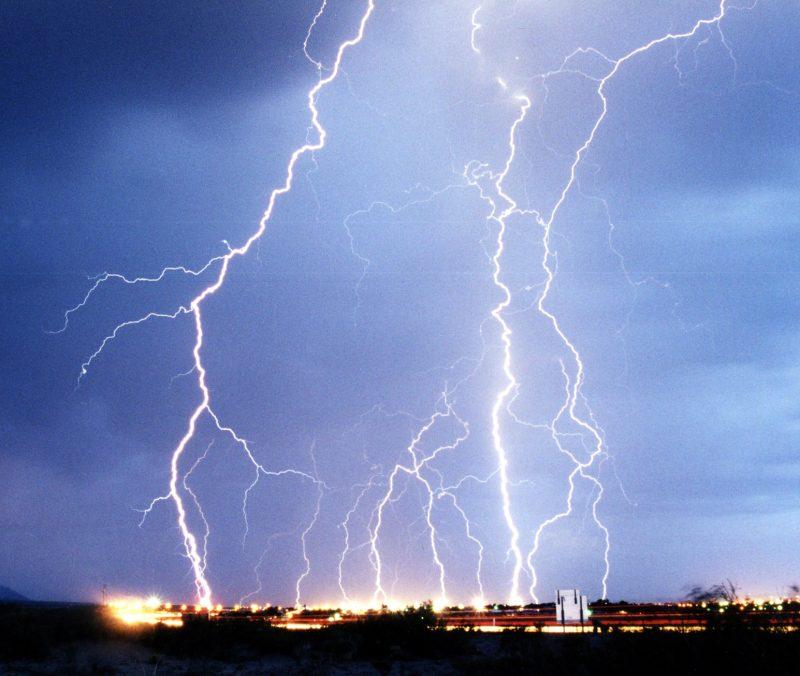 Multiple violent lightning strikes.