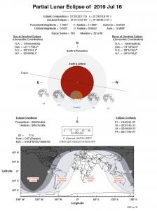 Worldwide map of the partial lunar eclipse.