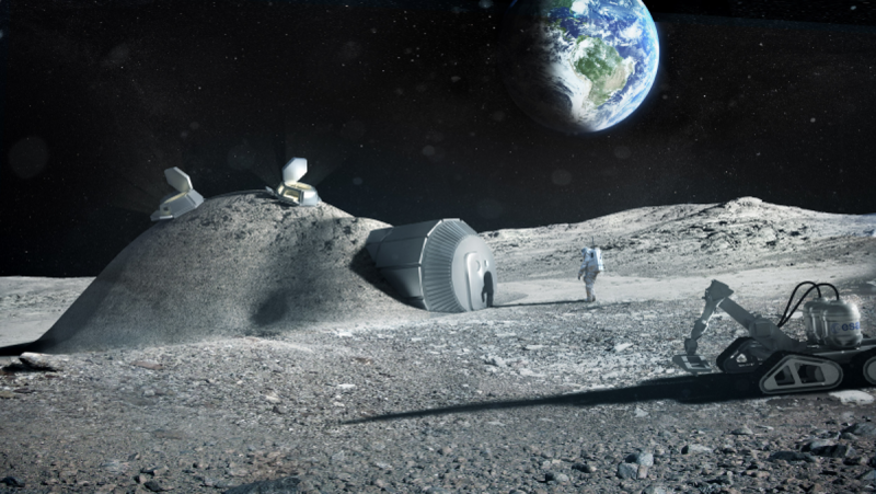 Smaller dome covered in layer of moon soil with airlock on one side.