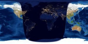 Map showing sunrise and sunset line on Earth, one day and 8 hours after new moon.