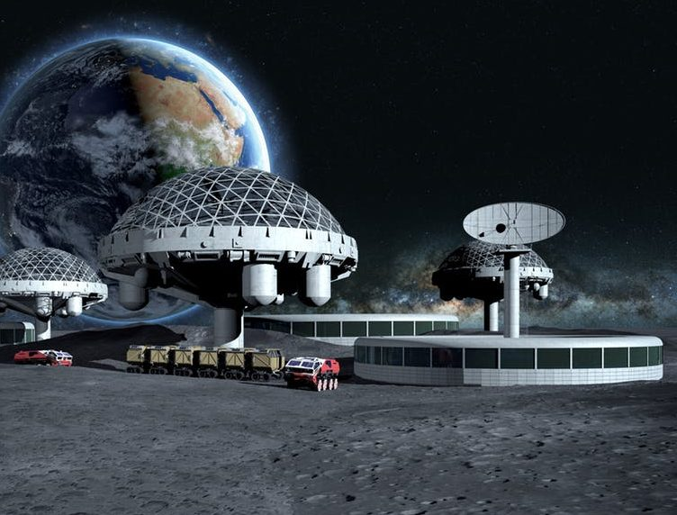 Domes on a lunar landscape with tiny astronauts in foreground for scale.