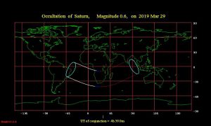 Worldwide map of the occultation of Saturn