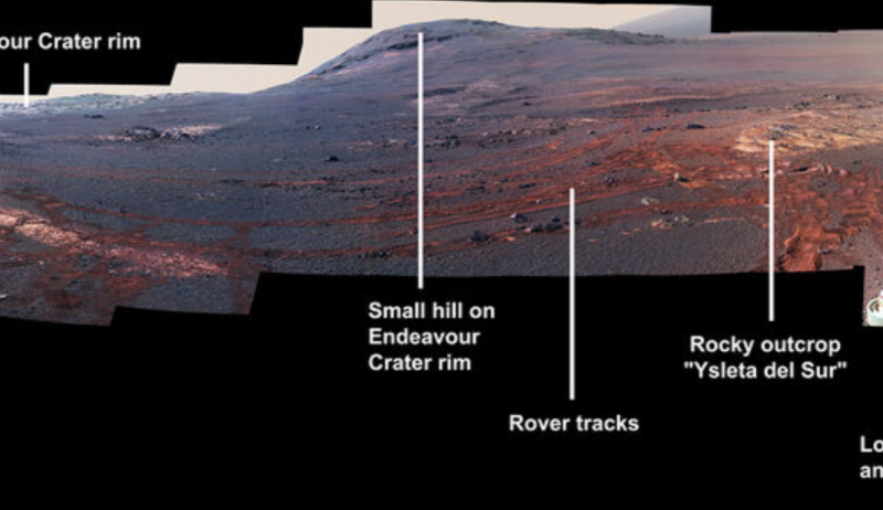 Brownish-bluish Martian landscape, showing a hill, rover tracks and a rocky outcrop, annotated.