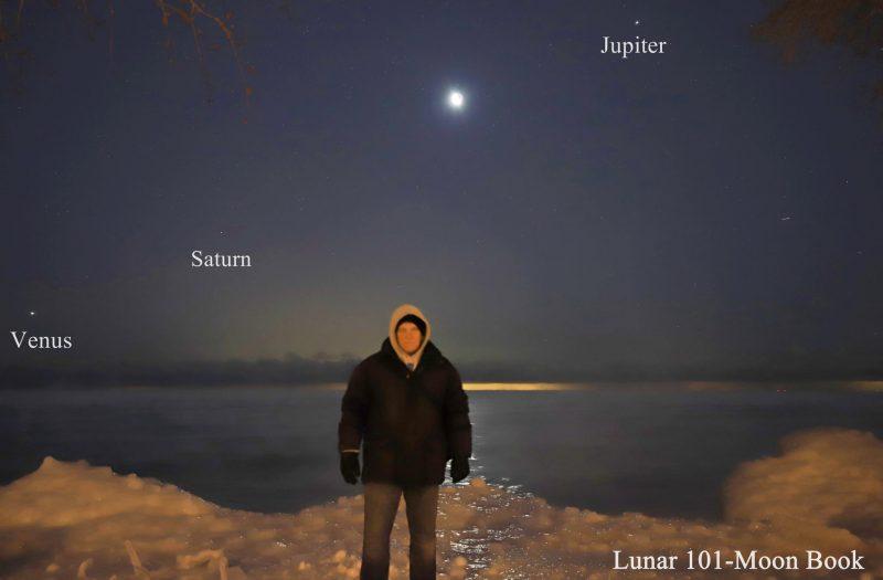 Man in Arctic garb in foreground, Venus, Saturn, moon, and Jupiter in background.