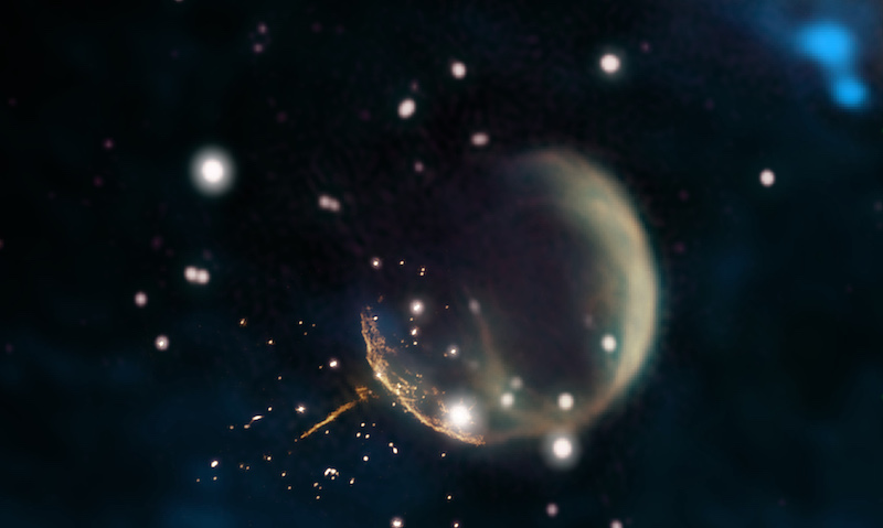 Giant bubble in space and a small dot with a glowing trail that points back at it.