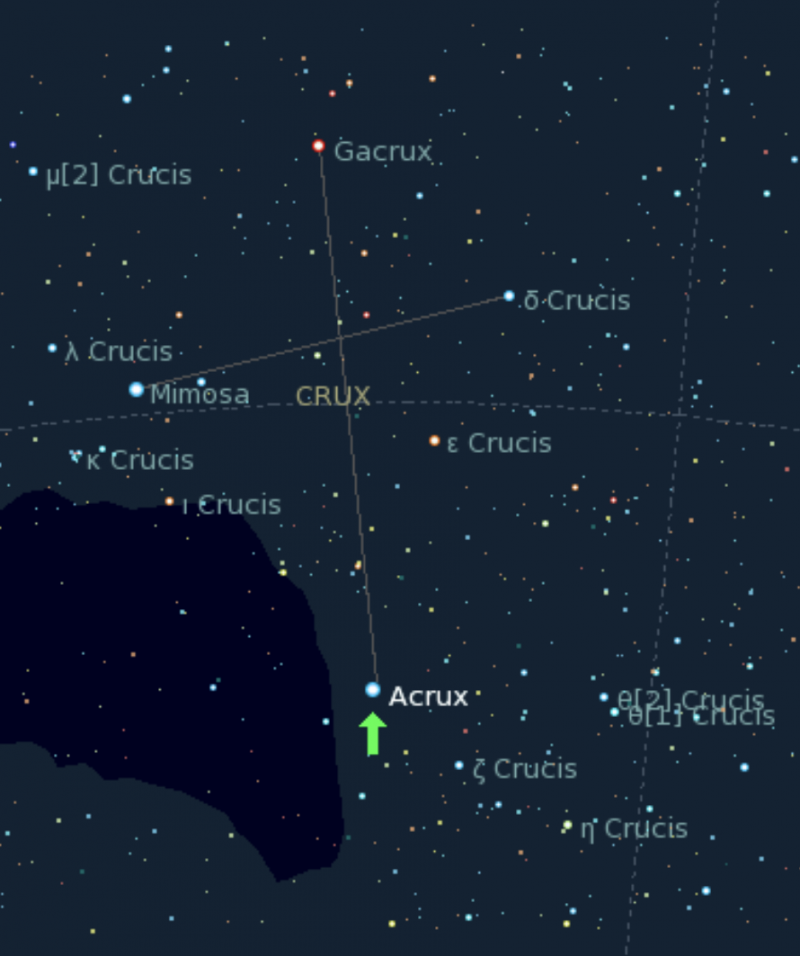 Star chart showing the Southern Cross - aka Crux - and highlights its brightest star Acrux.