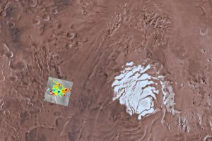 Soujth pole and surrounding terrain on Mars.