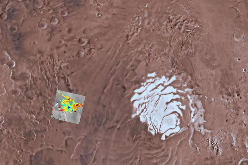 South pole and surrounding terrain, small false=-color square near ice cap.