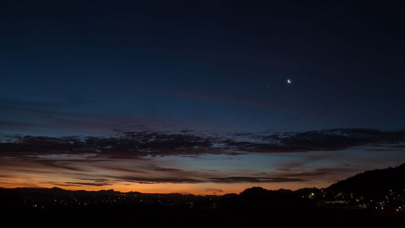 Venus and moon above the lights of Hermosillo.