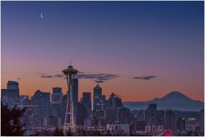 Cityscape - Seattle - with Venus and moon above.